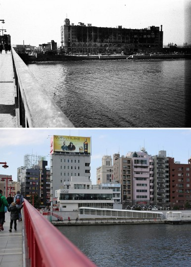 This combo of two photos shows initial destruction and reconstruction after the March 10, 1945 firebombing. The top photo taken on March 19, 1945 shows an incendiary bomb-devastated Matsuya Asakusa department store, seen from Azuma Bridge after Tokyo firebombing. The bottom photo taken 70 years later on March 7, 2015, shows Matsuya department store partially is seen among newer buildings in Tokyo. (AP Photo/The Center of the Tokyo Raids and War Damage, Eugene Hoshiko)