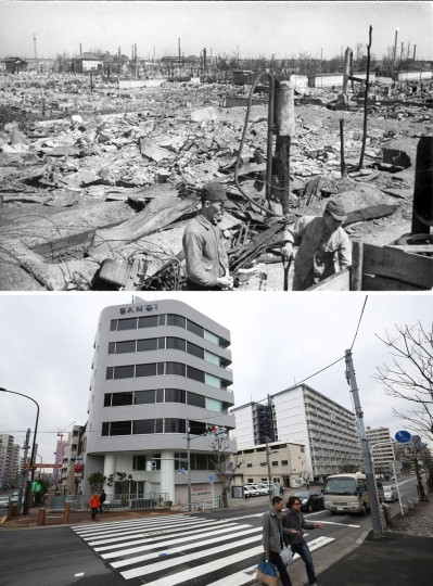 This combo of two photos shows initial destruction and reconstruction after the March 10, 1945 firebombing. The top photo taken on March 19, 1945 shows incendiary bomb-devastated area of Kameido district after Tokyo firebombing, seen from Kameido Tenjin Bridge. The bottom photo, taken 70 years later on March 7, 2015, shows people walk at Kameido District seen from the bridge in Tokyo. The B-29s flew much lower on March 10, in the dead of the night, dumping massive payloads of incendiary bombs on both residential areas and military targets. (AP Photo/The Center of the Tokyo Raids and War Damage, Eugene Hoshiko)