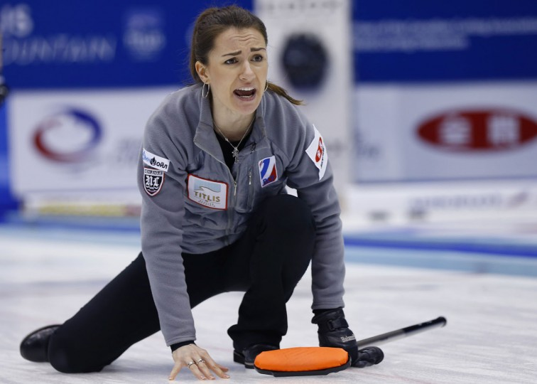 Russia's skip Anna Sidorova yells in the first end during their match against Scotland for bronze medal in the World Women's Curling Championship in Sapporo, northern Japan, Sunday, March 22, 2015. (AP Photo/Shizuo Kambayashi)