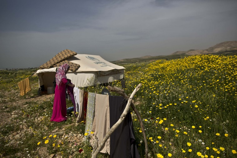 In this Monday, March 9, 2015 photo, Syrian refugee Montaha Ali hangs her laundry near her tent at an informal tented settlement in Al-Aghwar, Jordan, near the border with Israel. ìMy father and one of my brothers are refugees in Lebanon's camps, my other three brothers are refugees in Turkey and I am, with my husband, a refugee in Jordan,î she says. ìThe war ripped everything from us. All I wish is to be reunited with my family back in our village.î (AP Photo/Muhammed Muheisen)