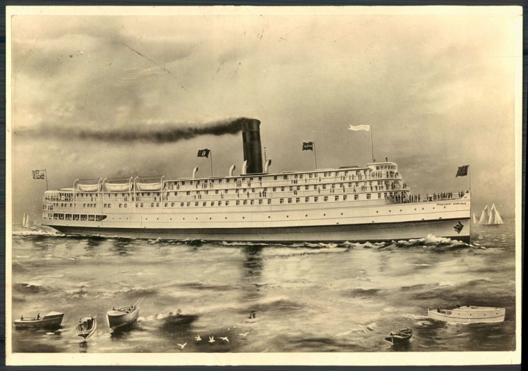 Drawing of the Old Line ship, the President Warfield. (Baltimore Sun archives, 1928).
