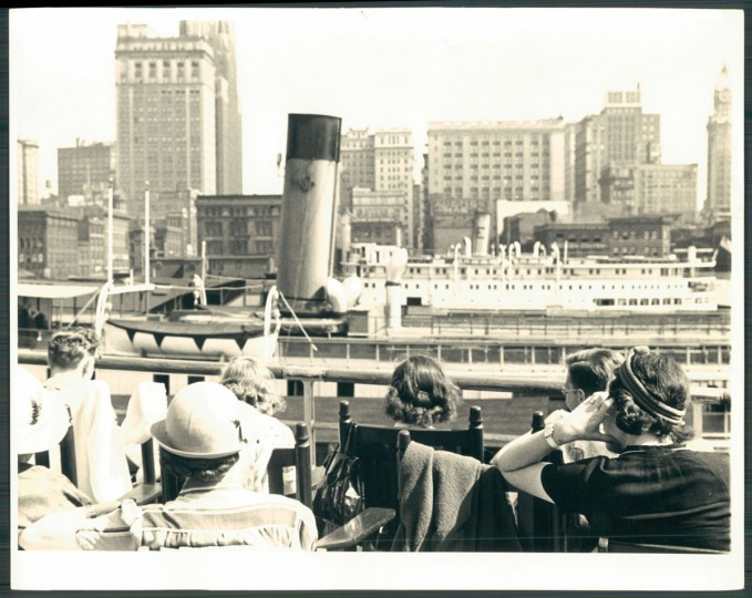 Original cutline: Skyline on parade affords an imposing spectacle in the morning. (Baltimore Sun archives, 1939)