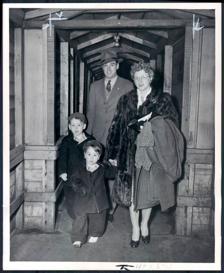 Old Bay Line Sailing: Mr. and Mrs. A Castile, of Norfolk, Va., with their children Charles Richard and Marion head home after Mr. Castile's discharge from the Marine Corps. (Hans Marx/Baltimore Sun, 1946)