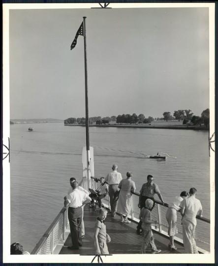 August 26, 1956 - Little pleasure craft pass the big steamboat off Washington's airport. (A. Aubrey Bodine/Baltimore Sun)