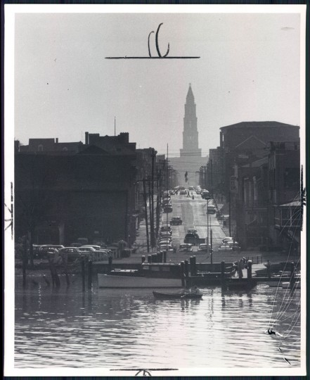 August 26, 1956 - The Washington Masonic Temple at Alexandria is seen like this down King Street from the boat. (A. Aubrey Bodine/Baltimore Sun)