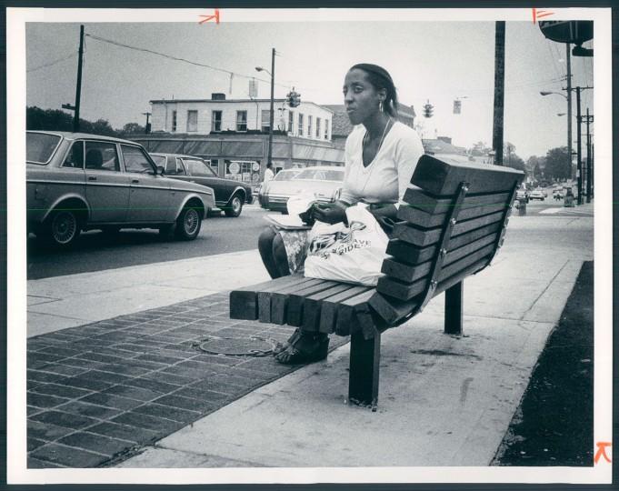 August 16, 1982 - Diane Soloman waits in the 4600 block of Liberty Heights Avenue for her bus.
