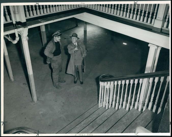 Mr. RL Jones, Old Bay Line Passenger Traffic Manager, tours the Warfield for the centennial celebration in 1940. (Hans Marx/Baltimore Sun)