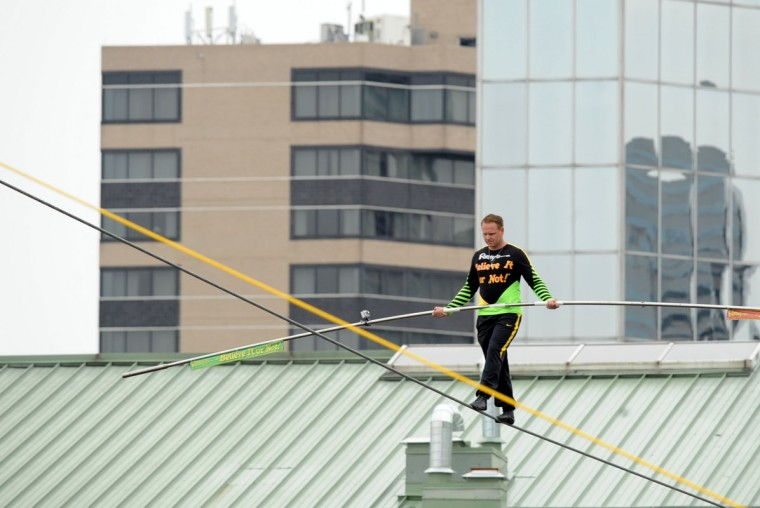 Then, Wallenda's great-grandson Nik performed a similar feat in 2012 to celebrate the opening of Ripley's Believe it or Not Odditorium.(Algerina Perna/Baltimore Sun)