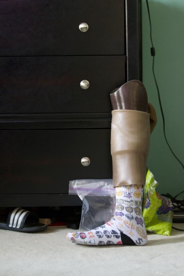 Hammond High School junior basketball player Essien Ture's, 16, prosthetic leg rests in his room at his families home in Columbia. (Jen Rynda/BSMG)