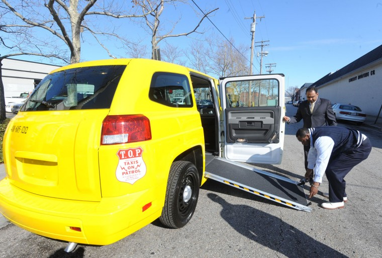 Yellow Cab also operates wheelchair accessible taxis. The government subsidized Taxi Access program provides 700 trips a day to the elderly and handicapped. (Algerina Perna/Baltimore Sun)