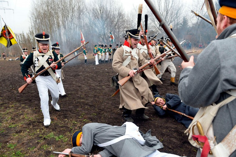 Reconstruction of the indecisive battle at Grochow district of Warsaw, February 25,1831, between the Polish Army of 40,000 and army of Russian Empire of 69,000 in Warsaw. November Insurrection was the Polish rebellion that unsuccessfully tried to overthrow Russian rule in the Congress Kingdom of Poland as well as in the Polish provinces of western Russia and parts of Lithuania, Belorussia and Ukraine. (Janek Skarzynski/AFP-Getty Images)