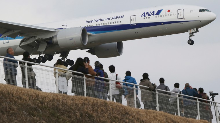 Spectators watch a Japanese All Nippon Airways' plane landing at the Narita International Airport. They stand in a popular viewing spot at Sakuranoyama Park in Narita, east of Tokyo. (Koji Sasahara/Associated Press)