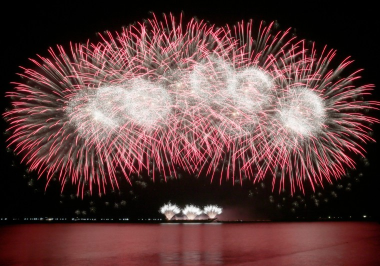 Fireworks from Polaris Fireworks AB of China fill the night sky at Manila Bay on the last weekend of the 6th Philippine International Pyro musical competition at the Mall of Asia shopping complex at suburban Pasay city south of Manila, Philippines. The Netherlands was declared this year's champion, followed by China and with Portugal 2nd runner up. (Bullit Marquez/Associated Press)