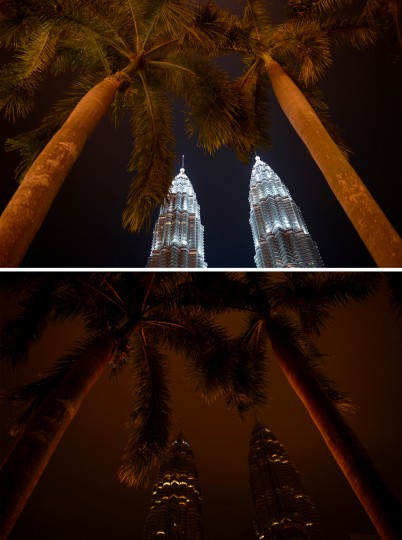 A combination of two pictures shows Malaysia's landmark Petronas Twin Towers in Kuala Lumpur before (top) and after the lights were switched off (bottom) for earth hour. Lights will go out in some 7,000 cities and towns from New York to New Zealand for Earth Hour to raise awareness of the need for sustainable energy use, and this year also to demand action to halt planet-harming climate change. (Mohd Rasfan/AFP-Getty Images)
