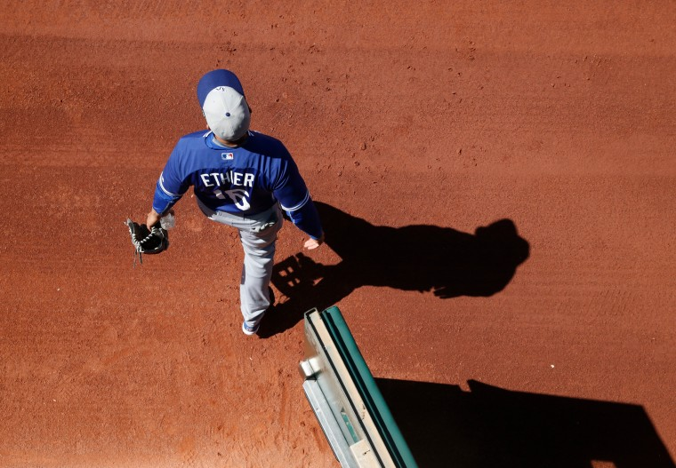Los Angeles Dodgers' Andre Ethier takes the field before a spring training exhibition baseball game against the Cleveland Indians, Saturday in Goodyear, Ariz. (John Locher/Associated Press)