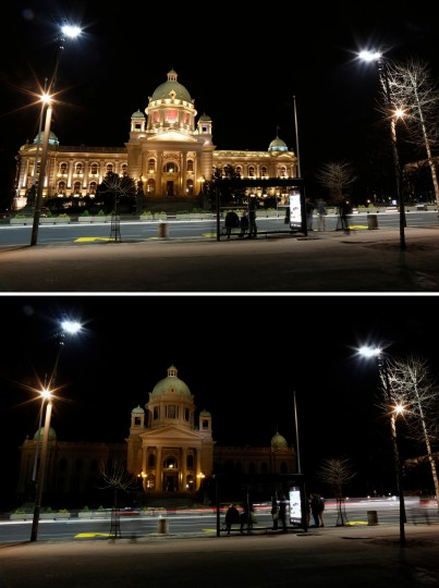 In this two photo combination picture, the illuminated Serbian Parliament building, top, and then the same location in darkness when the lights are turned out for one hour to mark Earth Hour, in Belgrade, Serbia. Organized by the World Wide Fund for Nature, earth hour is observed every year to create awareness about conservation of energy and climate change. Around the world, people and organizations will be turning their lights off from 8:30 to 9:30pm local time. (Darko Vojinovic/Associated Press)