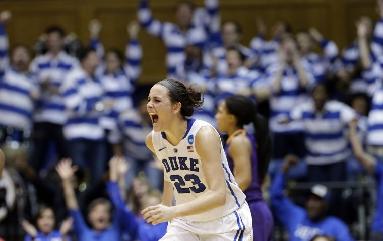Duke's Rebecca Greenwell shouts following her 3-point basket to take the lead against Albany late in the second half of a women's college basketball game in the first round of the NCAA tournament in Durham, N.C., Friday, March 20, 2015. Duke won 54-52.