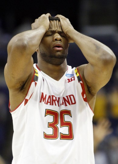 Maryland's Damonte Dodd walks off the court after a 69-59 loss to West Virginia in an NCAA tournament college basketball game in the Round of 32 in Columbus, Ohio, Sunday, March 22, 2015. (AP Photo/Paul Vernon)