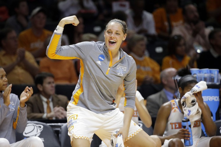 Tennessee's Kortney Dunbar celebrates a teammate's score during the first half of a college basketball game against Pittsburgh in the second round of the NCAA women's tournament Monday, March 23, 2015, in Knoxville, Tenn. (AP Photo/Mark Humphrey)