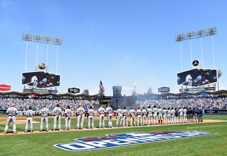 The San Diego Padres are pictured during introductions the Los Angeles Dodgers' home opener at Dodger Stadium on April 6, 2015 in Los Angeles, California. (Photo by Harry How/Getty Images)