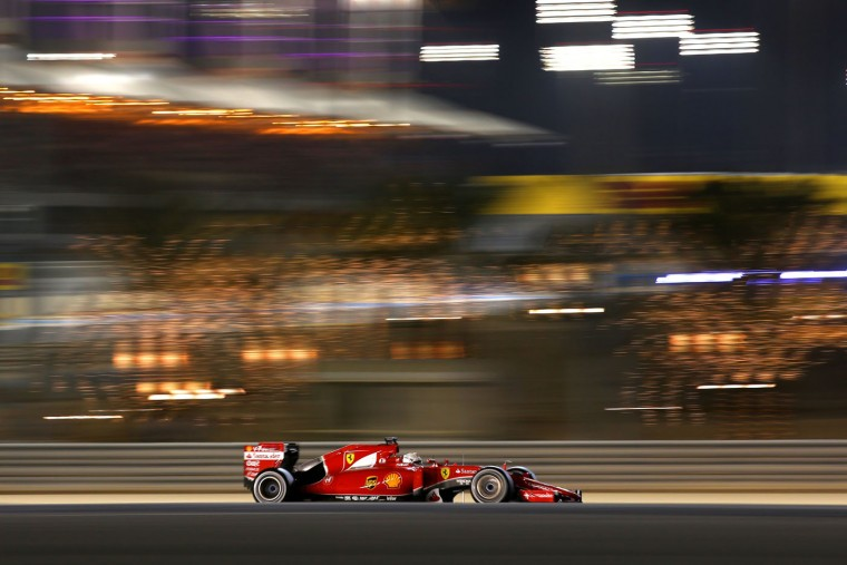 Sebastian Vettel of Germany and Ferrari drives during the Bahrain Formula One Grand Prix at Bahrain International Circuit on April 19, 2015 in Bahrain, Bahrain. (Mark Thompson/Getty Images)