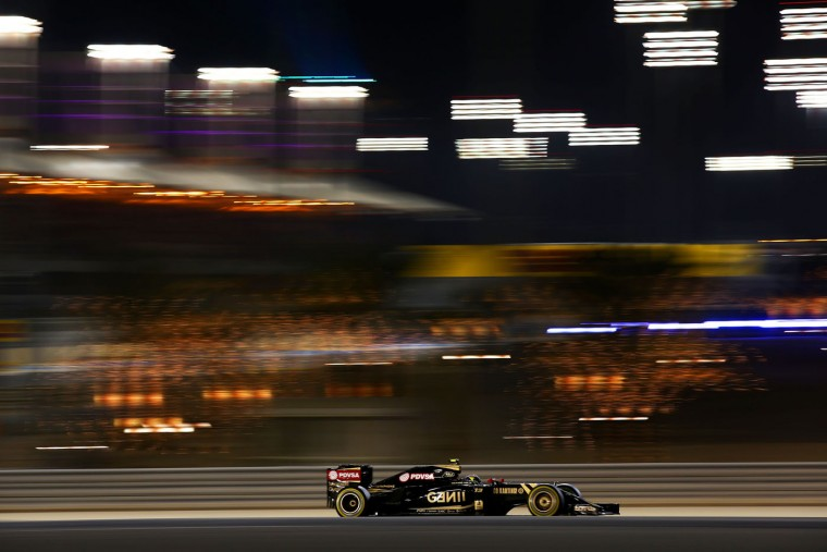 Pastor Maldonado of Venezuela and Lotus drives during the Bahrain Formula One Grand Prix at Bahrain International Circuit on April 19, 2015 in Bahrain, Bahrain. (Mark Thompson/Getty Images)
