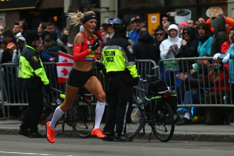 Shalane Flanagan of the United States runs down Boylston Street during the 119th Boston Marathon on April 20, 2015 in Boston, Massachusetts. Flanagan finished ninth with a time of 2:27:47. (Photo by Maddie Meyer/Getty Images)