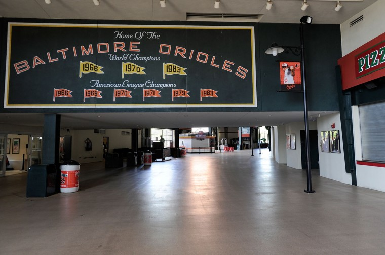 The concourse sits empty before the game between the Baltimore Orioles and the Chicago White Sox at Oriole Park at Camden Yards on April 29, 2015 in Baltimore, Maryland. The game will be played without spectators due to the social unrest in Baltimore. (Photo by Greg Fiume/Getty Images)
