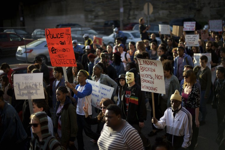 Protestors march over the death of Freddy Gray on April 30, 2015 in Philadelphia, Pennsylvania. Freddie Gray, 25, was arrested for possessing a switch blade knife April 12 outside the Gilmor Houses housing project on Baltimore's west side. According to his attorney, Gray died a week later in the hospital from a severe spinal cord injury he received while in police custody. (Photo by Mark Makela/Getty Images)