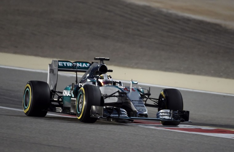 Mercedes AMG Petronas British driver Lewis Hamilton drives during the Formula One Bahrain Grand Prix at the Sakhir circuit in the desert south of the Bahraini capital, Manama, on April 19, 2015. (Mohammed Al-Shaikh/AFP/Getty Images)