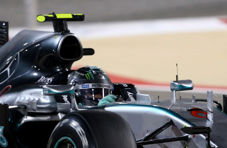 Mercedes AMG Petronas German driver Nico Rosberg drives during the Formula One Bahrain Grand Prix at the Sakhir circuit in the desert south of the Bahraini capital, Manama, on April 19, 2015. (Marwan Naamani/AFP/Getty Images)