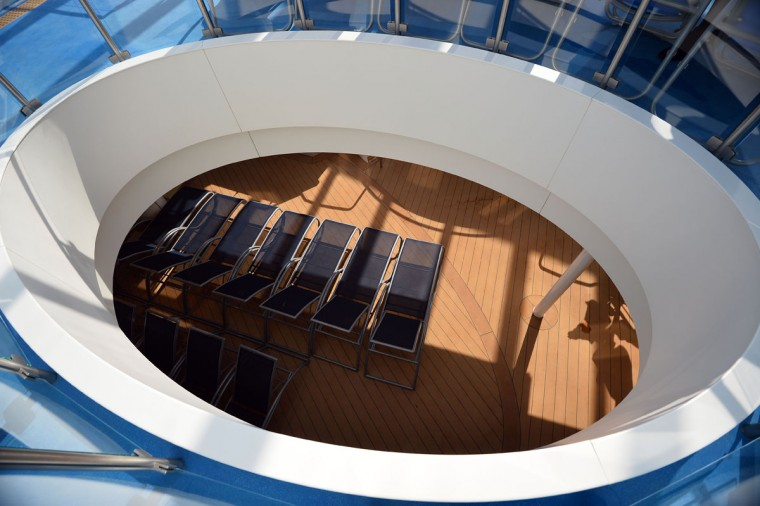 Sun loungers are aligned in in the indoor pool area Royal Caribbean's latest cruise liner 'The Anthem Of The Seas', a 4,905-passenger ship which is docked in Southampton on April 20, 2015. (GLYN KIRK/AFP/Getty Images)