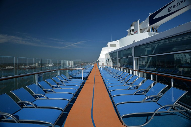 The running track on board Royal Caribbean's latest cruise liner 'The Anthem Of The Seas', a 4,905-passenger ship which is docked in Southampton on April 20, 2015. (GLYN KIRK/AFP/Getty Images)