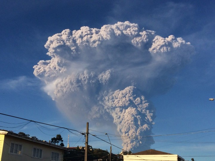 View from Puerto Varas, southern Chile, of a high column of ash and lava spewing from the Calbuco volcano, on April 22, 2015. Chile's Calbuco volcano erupted on Wednesday, spewing a giant funnel of ash high into the sky near the southern port city of Puerto Montt and triggering a red alert. Authorities ordered an evacuation for a 10-kilometer (six-mile) radius around the volcano, which is the second in southern Chile to have a substantial eruption since March 3, when the Villarrica volcano emitted a brief but fiery burst of ash and lava. (AFP Photo/P /giordana )