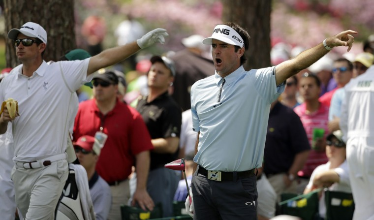 Bubba Watson,right, calls out with Justin Rose, of England, after teeing off on the 17th hole during the first round of the Masters golf tournament Thursday, April 9, 2015, in Augusta, Ga. (AP Photo/Matt Slocum)