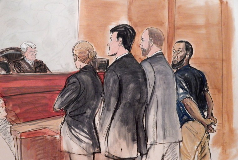 In this courtroom sketch, Tairod Nathan Webster Pugh, right, a U.S. Air Force veteran and former airplane mechanic charged with attempting to join the Islamic State group in Syria, stands with his uncuffed hands behind back during his arraignment Wednesday, March 18, 2015, before Judge Nicholas Garaufis, left, in a federal courthouse in the Brooklyn borough of New York. Pugh pleaded not guilty to terrorism charges. His attorney, Michael K. Schneider, second from right, entered the plea on Pugh's behalf in the presence of Assistant US Attorneys Samuel Nitze, center, and Tiana Demas, center left. (AP Photo/Elizabeth Williams)