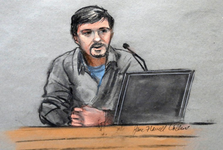 In this courtroom sketch, Boston Marathon bombing survivor Jeff Bauman is depicted while testifying in the federal death penalty trial of Dzhokhar Tsarnaev Thursday, March 5, 2015, in Boston. Tsarnaev is charged with conspiring with his brother to place two bombs near the Boston Marathon finish line in April 2013, killing three and injuring 260 people. Bauman lost both legs in one of the blasts. (AP Photo/Jane Flavell Collins)