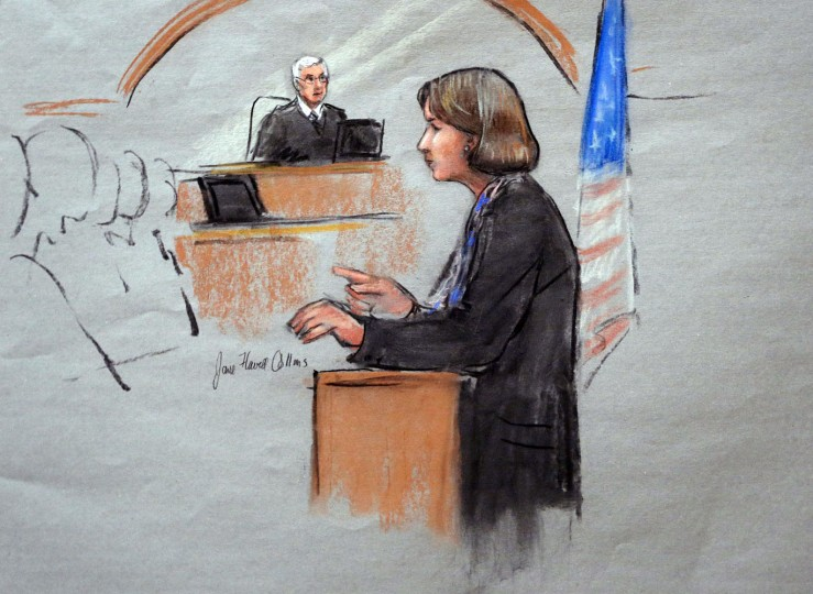 In this courtroom sketch, defense attorney Judy Clarke is depicted delivering opening statements in front of U.S. District Judge George O'Toole Jr., on the first day of the federal death penalty trial of Boston Marathon bombing suspect Dzhokhar Tsarnaev, Wednesday, March 4, 2015, in Boston. Tsarnaev is charged with conspiring with his brother to place two bombs near the marathon finish line in April 2013, killing three and injuring 260 people. (AP Photo/Jane Flavell Collins)