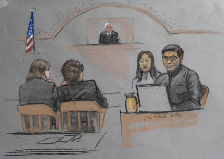 "In this courtroom sketch, Dun Meng, far right, testifies with a translator at his side during the federal death penalty trial of Boston Marathon bombing suspect Dzhokhar Tsarnaev in Boston, Thursday, March 12, 2015. Meng described his harrowing ride at gunpoint with the Boston Marathon bombers and the moment he made ""the most difficult decision"" of his life to bolt from the car. Tsarnaev is charged with conspiring with his brother to place two bombs near the marathon finish line in April 2013, killing three and injuring more than 260 people. (AP Photo/Jane Flavell Collins)"