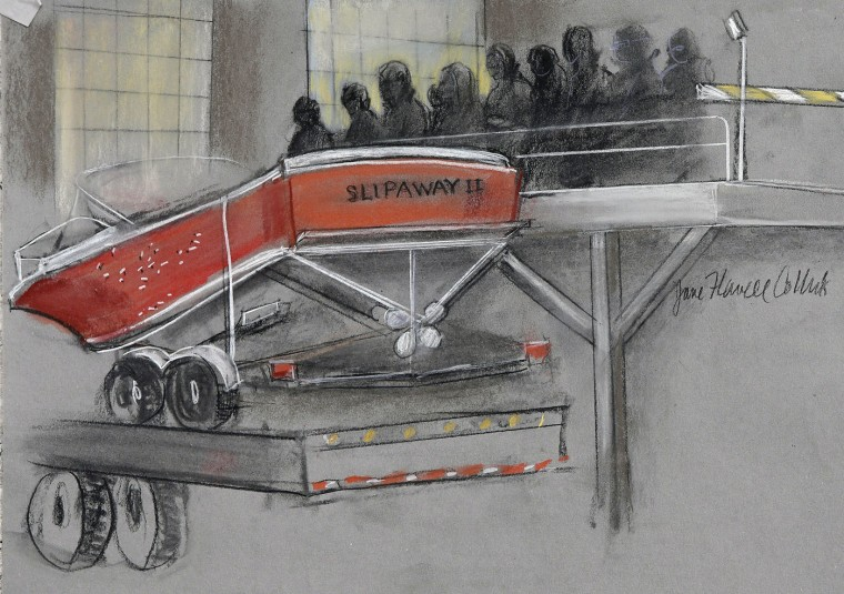 In this courtroom sketch, the boat in which Dzhokhar Tsarnaev was captured is depicted on a trailer for observation during Tsarnaev's federal death penalty trial Monday, March 16, 2015, in Boston. Tsarnaev is charged with conspiring with his brother to place two bombs near the Boston Marathon finish line in April 2013, killing three and injuring more than 260 people. (AP Photo/Jane Flavell Collins)
