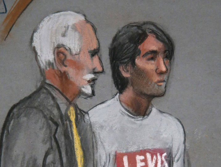 In this May 30, 2014 file courtroom sketch, Khairullozhon Matanov, right, stands with attorney Paul Glickman in federal court in Boston, facing obstruction of justice charges in the investigation of the Boston Marathon bombings. Matanov is scheduled to appear Tuesday, March 24, 2015, in federal court in Boston for a change of plea hearing. (AP Photo/Jane Flavell Collins, File)