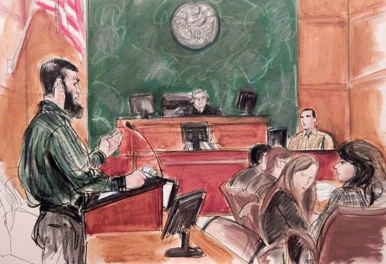 In this Feb. 18, 2015, courtroom file sketch, acting as his own attorney, Abid Naseer, left, questions Najibulla Zazi, center right, during Naseerís trial on terrorism charges in the Brooklyn borough of New York. On Wednesday, March 4, 2015, the jury found Naseer guilty in a failed al-Qaida conspiracy to attack the New York City subway and targets in Europe. (AP Photo/Elizabeth Williams, File)