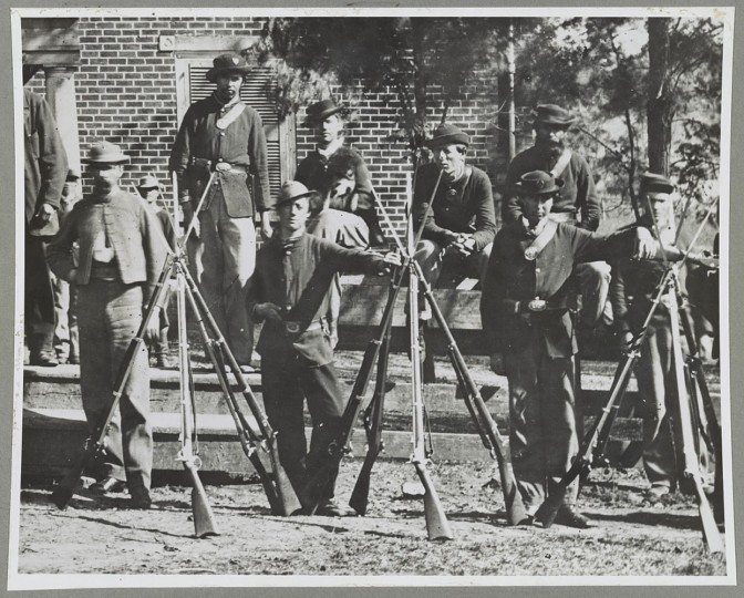 This April 1865 image provided by the Library of Congress shows Federal troops standing in front of the Appomattox Court House near the time of Confederate Gen. Robert E. Lee's surrender to Union Lt. Gen. Ulysses S. Grant, in Appomattox, Va. (AP Photo/Library of Congress)