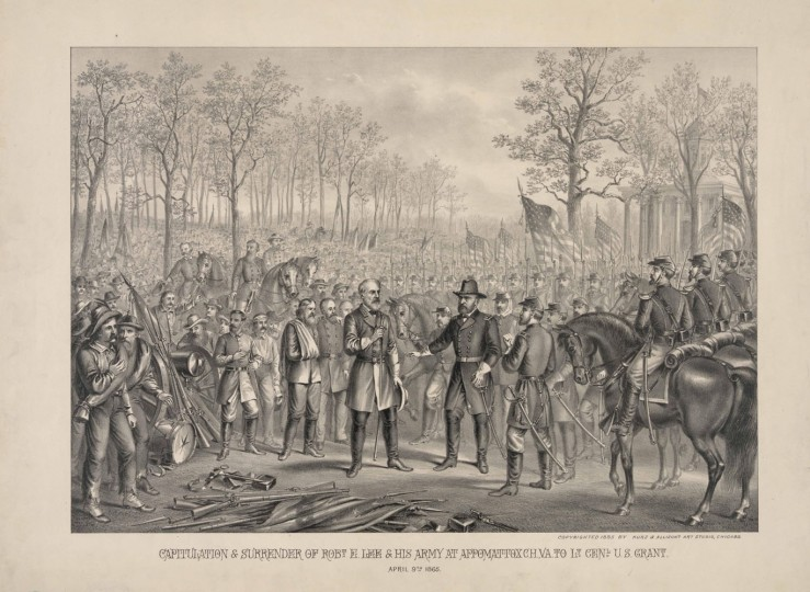 This image provided by the Library of Congress shows an artists rendering of the surrender of Confederate General Robert E. Lee to Union General Ulysses S. Grant at Appomattox Court House on April 9, 1865. A reenactment of the surrender will take place in Appomattox on April 9, 2015, to commemorate the 150th anniversary of the surrender. (AP Photo/Library of Congress Prints and Photographs Division, Kurz and Allison)