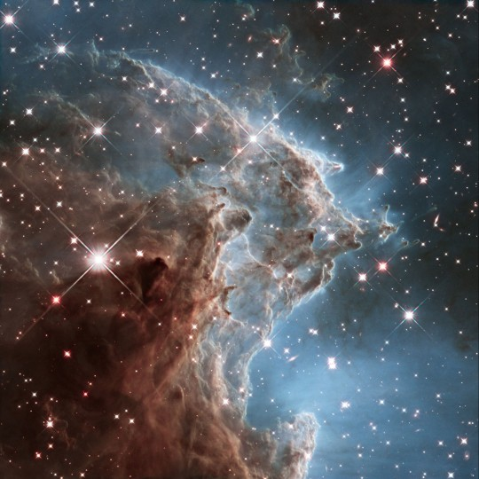This infrared Hubble Space Telescope image shows part of NGC 2174, the Monkey Head Nebula. The structure lies about 6400 light-years away in the constellation of Orion. (NASA/ESA/Hubble Heritage Team, via AP)