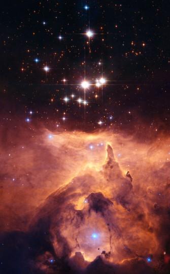 This Hubble image shows the star cluster Pismis 24 in the core of the large emission nebula NGC 6357. (NASA/ ESA, Jesus Maiz Apellaniz - Instituto de Astrofisica de Andalucía, Spain via AP)