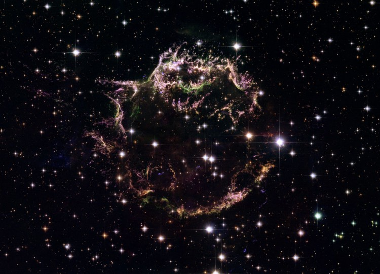 This Hubble image shows the remains of a supernova explosion known as Cassiopeia A. (NASA, ESA, Hubble Heritage via AP)
