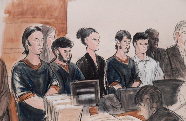 In this courtroom sketch, the four men accused of plotting to send U.S. residents overseas to fight for the Islamic State, Akhror Saidakhmetov, left, Abror Habibov, second from left, Abdurasul Hasanovich Juraboev, fourth from left, and Dilkhayot Kasimov, fifth from left, appear in a New York City courtroom Wednesday, April 8, 2015. The four men, all immigrants from the former Soviet republics of Uzbekistan and Kazakhstan ó entered not guilty pleas through their attorneys to a revised indictment filed this week that added Kasimov as a defendant. The three others were first charged last month. (AP Photo/Elizabeth Williams)