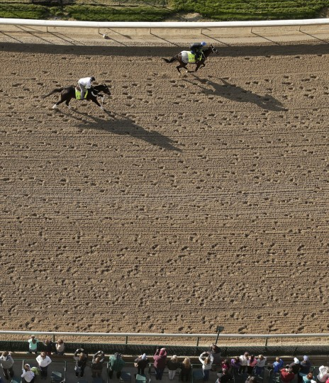 Kentucky Derby hopefuls Mubtaahij, right, ridden by jockey Christophe Soumillon, and Bolo, ridden by exercise rider Tony Rubalcaba, train during a workout at Churchill Downs Wednesday, April 29, 2015, in Louisville, Ky. (AP Photo/Charlie Riedel)