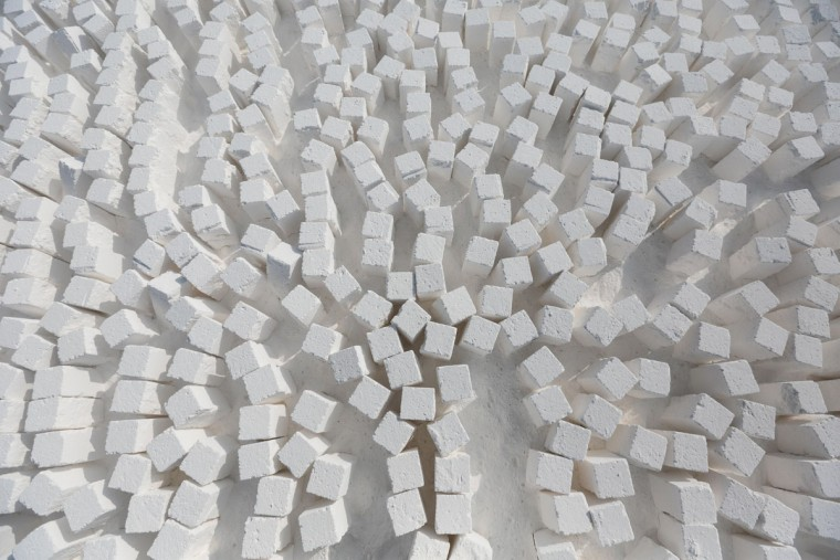 Freshly cut limestone bricks are arranged and ready for transport at a quarry in the desert of Minya, southern Egypt. (AP Photo/Mosa'ab Elshamy)